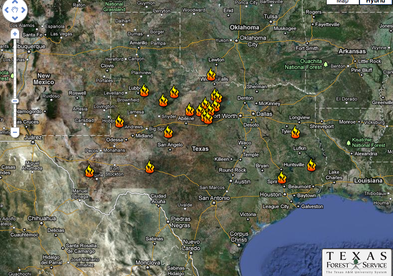 title texas fire map